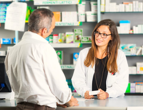 customer talking to a pharmacist